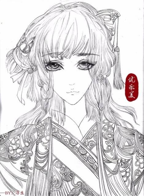 宫廷女手绘图片素描