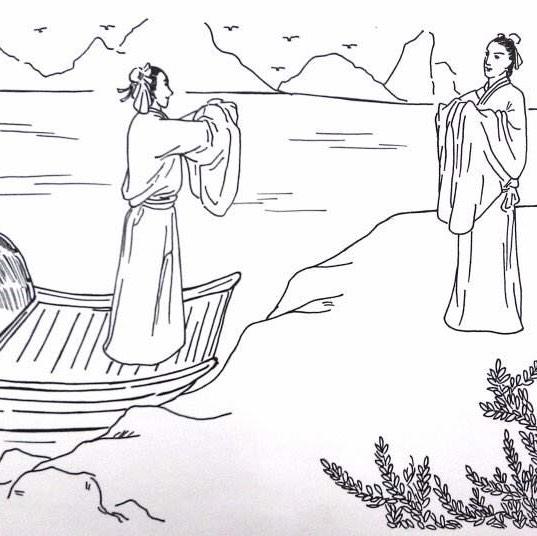 古代诗人送别简笔画